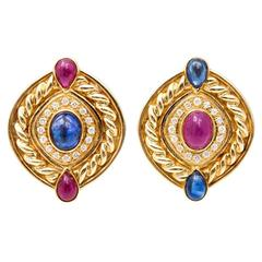 Ruby Sapphire Diamond Swirl Button Gold Clip Post Earrings