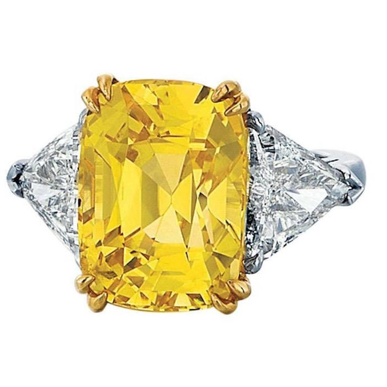 Cushion Cut Yellow Sapphire and Diamond Ring
