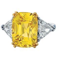Cushion Cut Yellow Sapphire and Diamond Ring