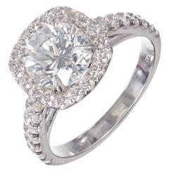 Peter Suchy Diamond Halo Platinum Engagement Ring