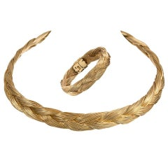 Henry Dunay Braided Golden Collar and Bracelet Suite