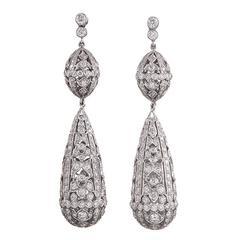 6.17 Carats Diamonds Gold Filigree Drop Earrings
