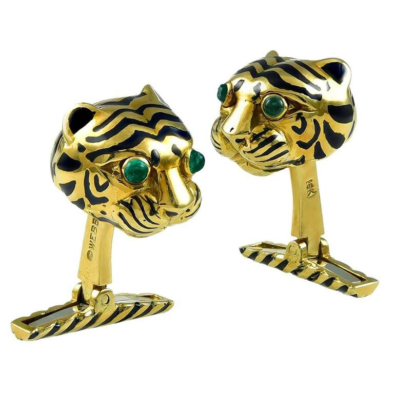 David Webb Gold Tiger Cuff Links