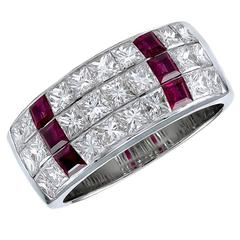 Tiffany & Co. Ruby Diamond Gold Wide Band Ring