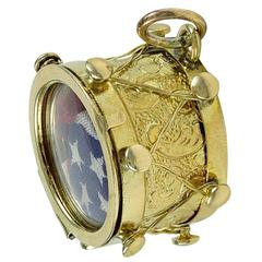 Antique Gold Drum Charm with American Flag
