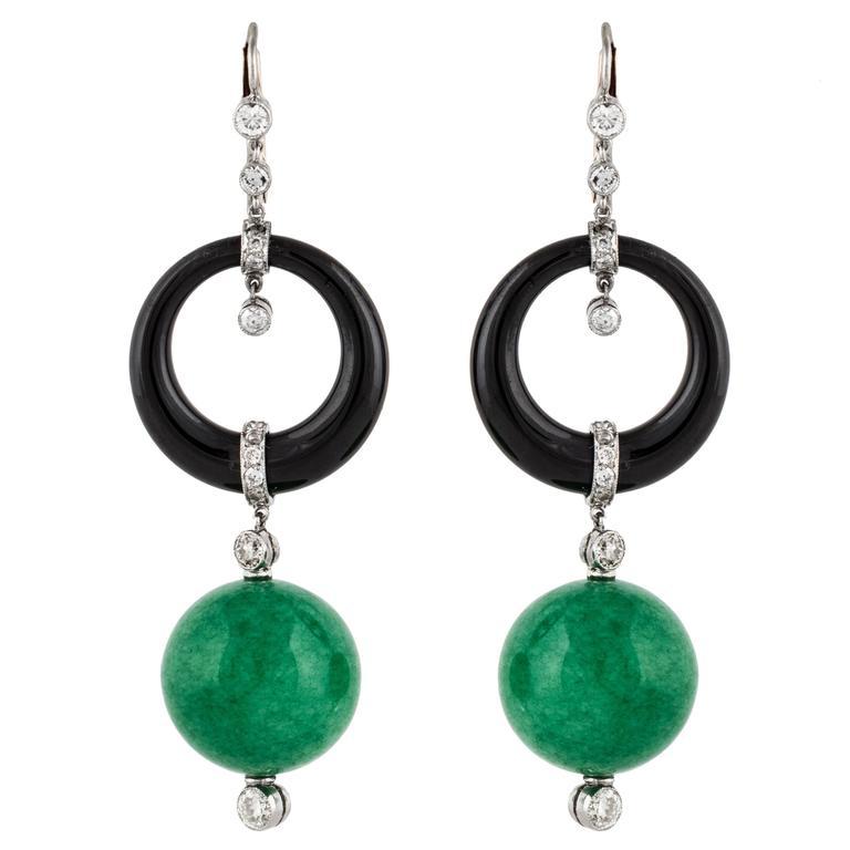 Jade Onyx Diamond Platinum Dangling Earrings