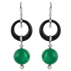 Jade Onyx and Diamond Dangling Earrings