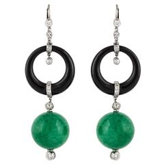 Jade Onyx Diamond Platinum Dangling Earrings