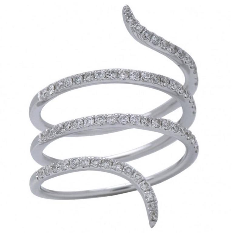 Diamond White Gold Wrap Around Ring For Sale