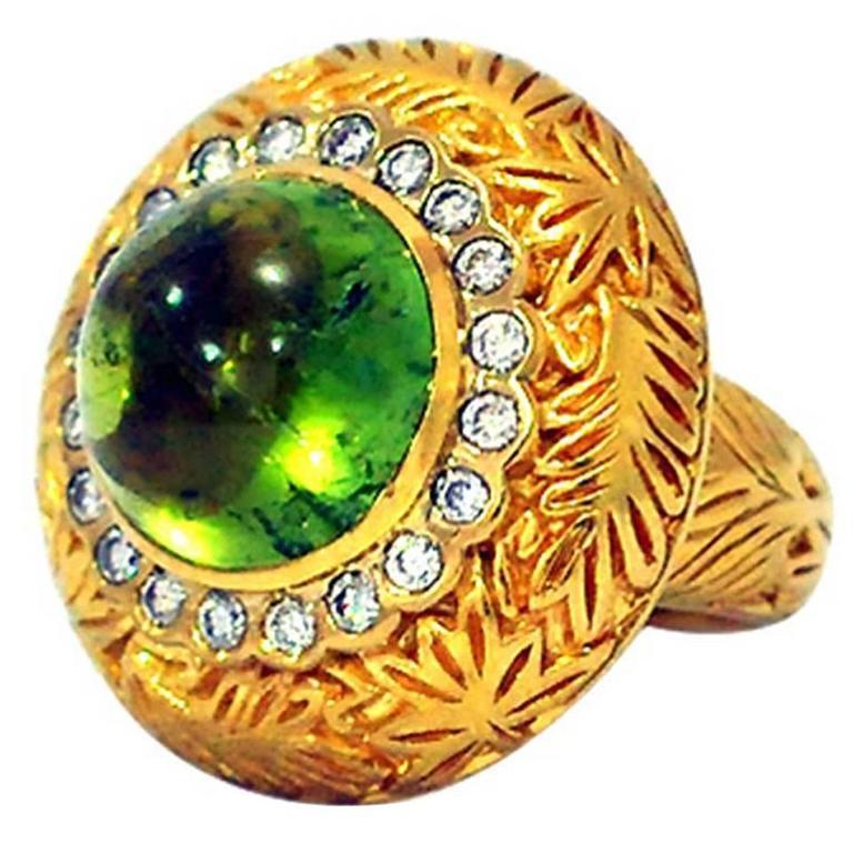 Green Tourmaline Diamond Gold Ring