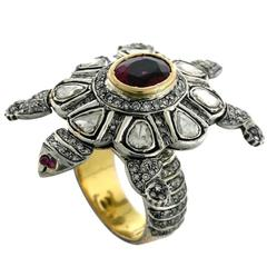 Rose Cut Diamond Tourmaline Gold Turtle Ring
