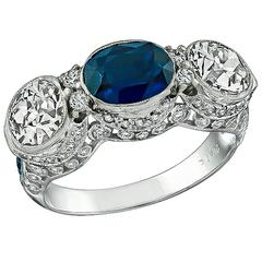 Sapphire Diamond Platinum Three Stone Ring