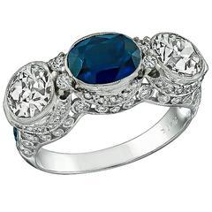 Sapphire Diamond Platinum Three Stone Ring