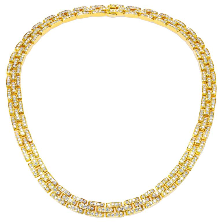 cartier 18k yellow gold and diamond panther necklace for