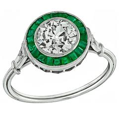 Remarkable 1.29 Carat Diamond Emerald Halo Platinum Engagement Ring