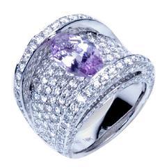 """Samuel Getz"" Lavender Pink Spinel & Pavé Diamond 18 Kt. Gold Ring"