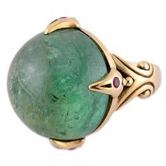 Hand-Carved Quartz Gold Vermeil Pendant with Diamond Accent