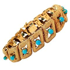 Persian Turquoise Textured Gold Bracelet