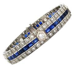 Breathtaking Original Hand Crafted Art Deco Sapphire Diamond Gold Bracelet