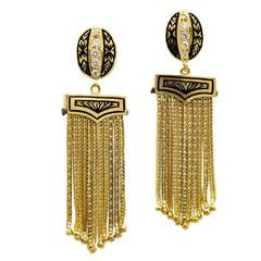 Square Gold Chain and Diamond Dangling Earrings