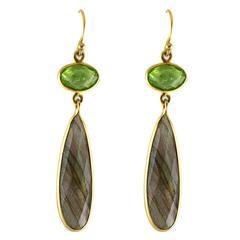 Rose Cut Green Peridot Labradorite Gold Drop Earrings