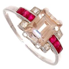 French Art Deco Diamond Ruby Platinum Engagement Ring