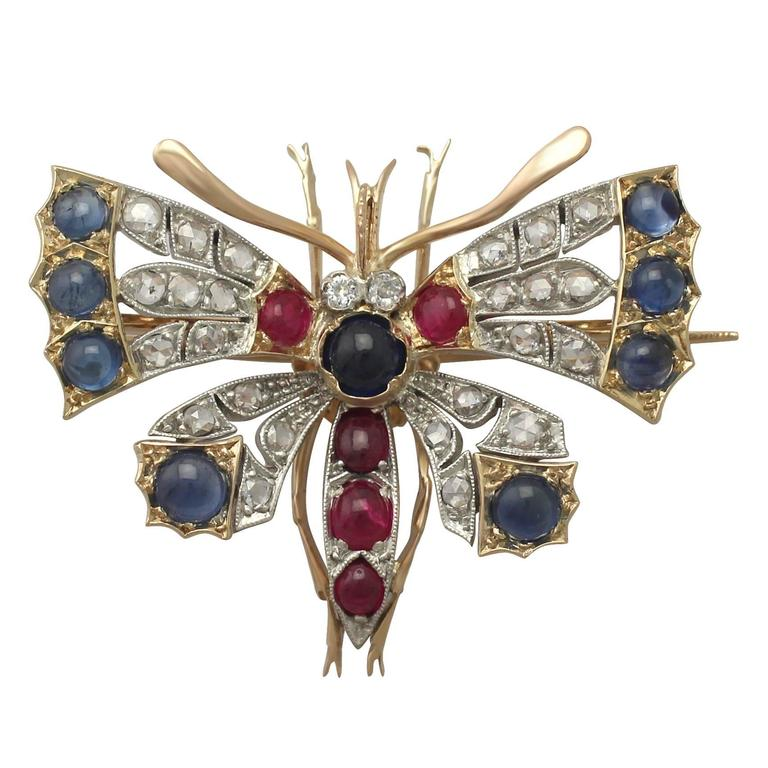 Diamond and Sapphire, Ruby and 18k Yellow Gold Butterfly Brooch For Sale