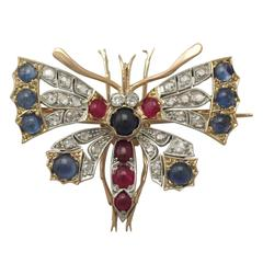 Diamond and Sapphire, Ruby and 18k Yellow Gold Butterfly Brooch