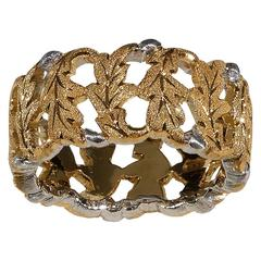 Buccellati Two Color Gold Leaf Motif Band Ring