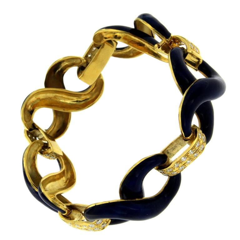 Blue Enamel Diamond Gold Link Bracelet