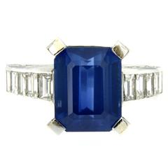 6.59 Carat GIA Certified Sapphire Diamond Gold Ring