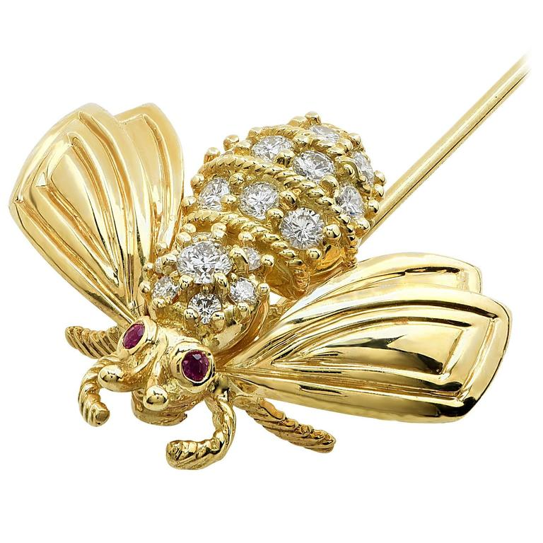 Tiffany & Co. Ruby Diamond Gold Stick Pin