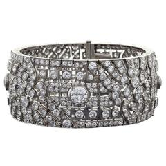Okrant et Davidonniez Art Deco Diamond Platinum Extra Wide Bracelet