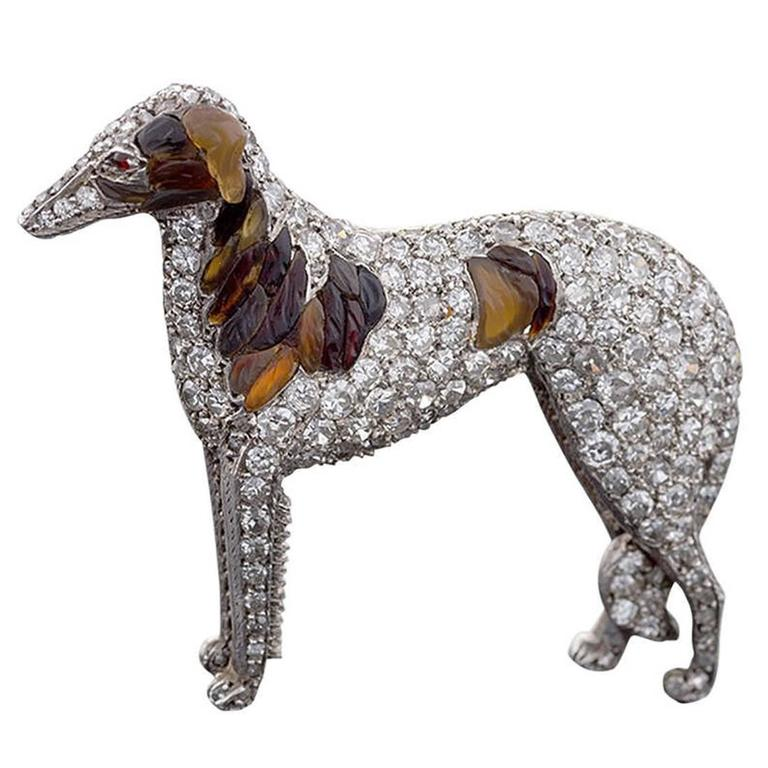Antique Diamond and Carved Amber Silver Top Gold Borzoi Brooch For Sale