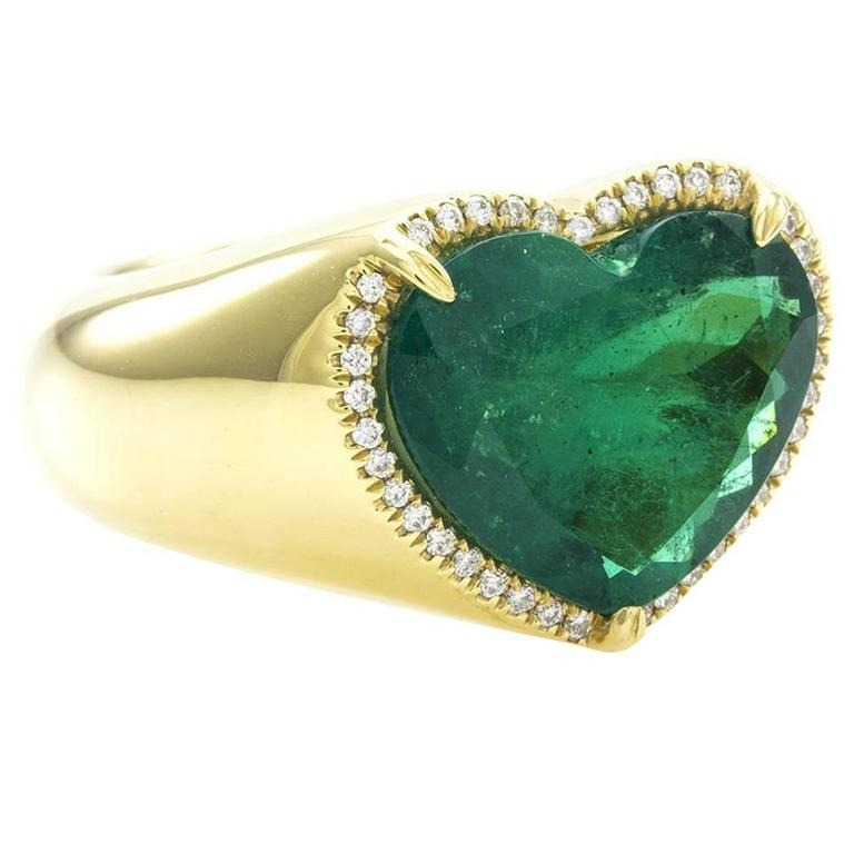 com gold with look heart evolees ring white l central silver plating emerald shaped side jewels and diamond in engagement stone