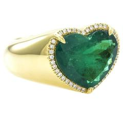 Heart Shaped Emerald with Pavé Diamond Halo