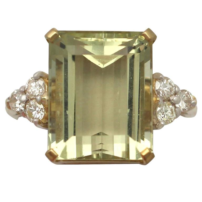 7.84 Carat Citrine and Diamond Yellow Gold Cocktail Ring 1