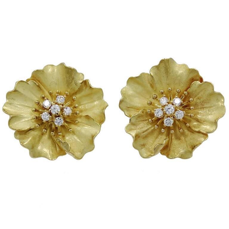 Tiffany Co Diamond Gold Alpine Rose Earrings For