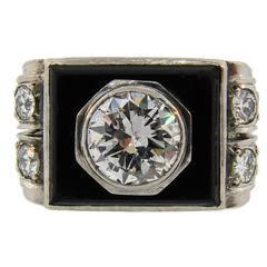 1930s Art Deco Diamond Platinum Gold French Ring
