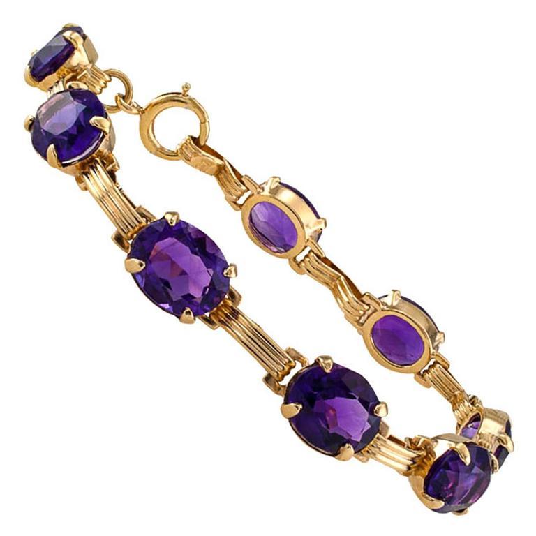 Mid-Century Amethyst Gold Line Bracelet 1