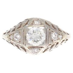 Art Deco Diamond Gold Engagement Ring