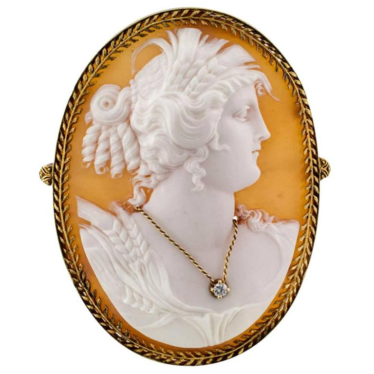 Victorian Shell and Diamond Cameo Brooch Pendant For Sale