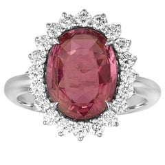 AGL Certified 4.06 Carat Oval Pink Sapphire And Diamond Gold Ring