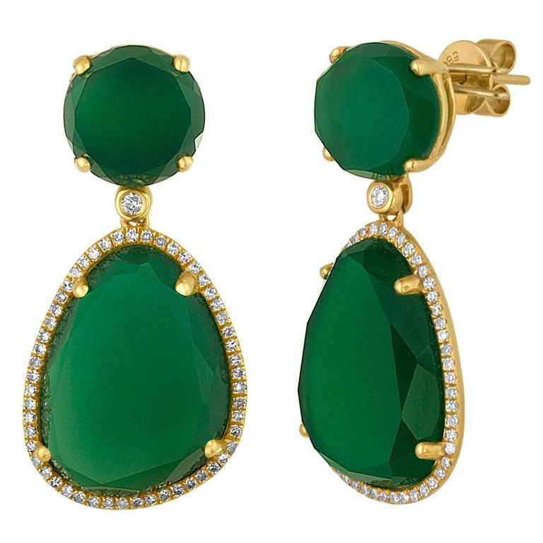 green tourmaline earrings gold drop and lemon diamond in yellow product quartz