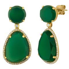 Green Agate Diamond Gold Earrings