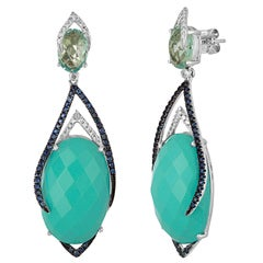 Turquoise Topaz Sapphire Diamond Gold Drop Earrings