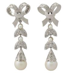 1960s Pearl and 0.54 Carat Diamond, 18k White Gold Drop Earrings