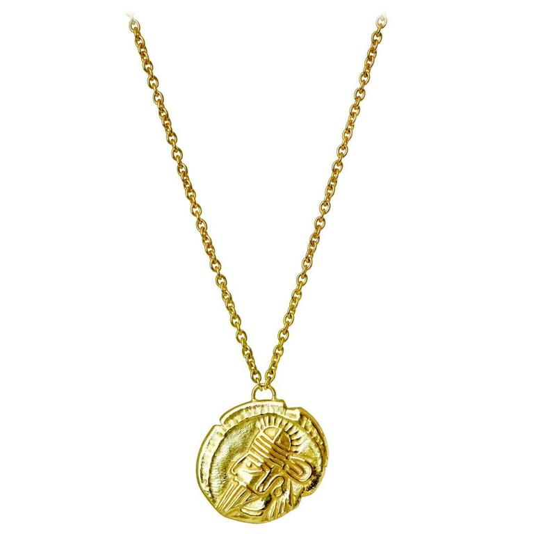 Parthian Coin 18 Karat Yellow Gold Necklace For Sale