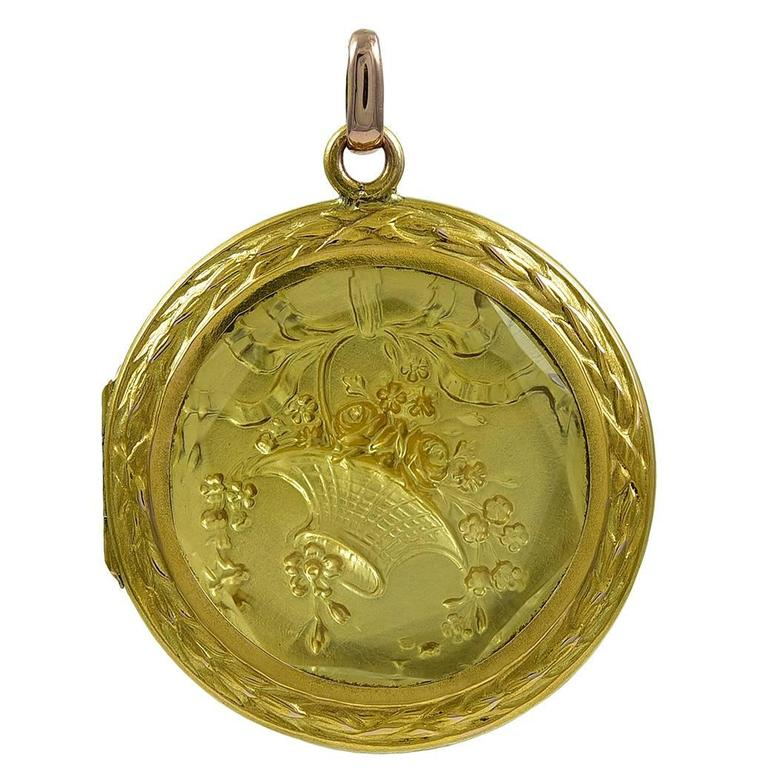 Antique French Gold Locket For Sale