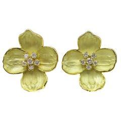 "Tiffany & Co. Diamond Gold ""Dogwood"" Ear Clips"